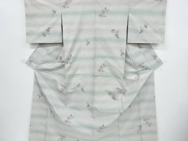 【IDnet】 未使用品 葵模様織出手織り節紬着物【リサイクル】【着】