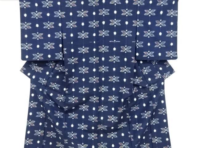 【IDnet】 未使用品 縞に花模様織り出し手織り真綿紬単衣着物【リサイクル】【着】