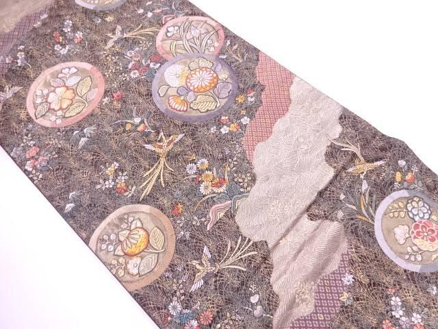 【IDnet】 いづくら製 花鳥模様織出し袋帯【リサイクル】【中古】【着】
