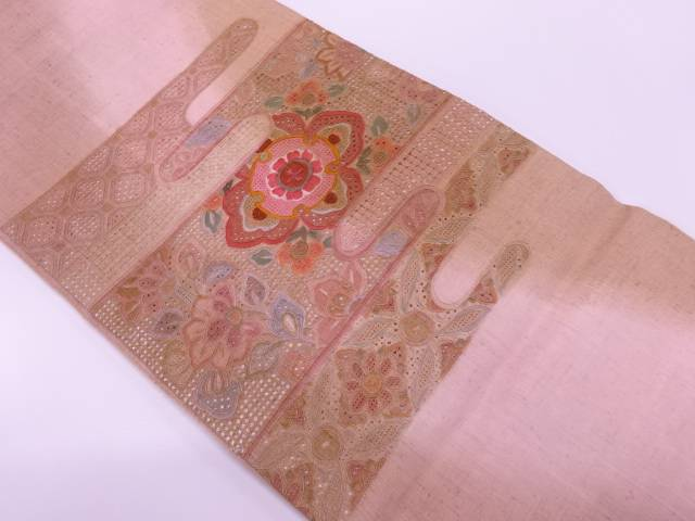 【IDnet】 未使用品 手織り真綿紬汕頭相良刺繍ヱ霞に花模様袋帯【リサイクル】【着】