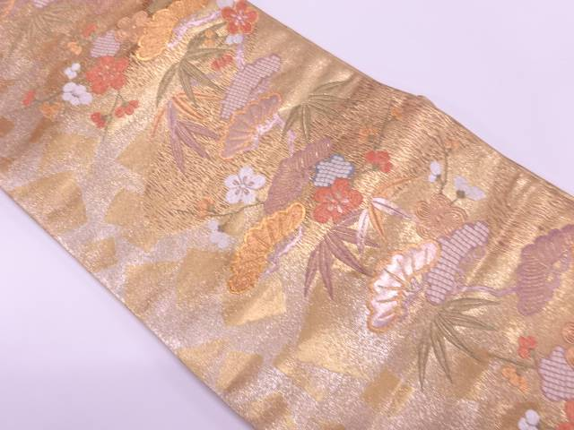 【IDnet】 松竹梅に色紙散らし模様織出し袋帯【リサイクル】【中古】【着】