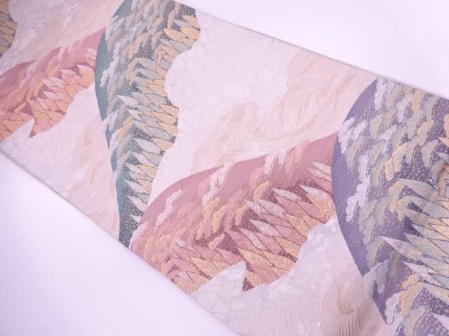 【IDnet】 山並みに樹木模様織出し袋帯【リサイクル】【中古】【着】