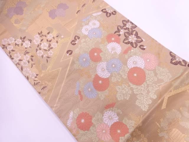 【IDnet】 松に草花模様織出し袋帯【リサイクル】【中古】【着】
