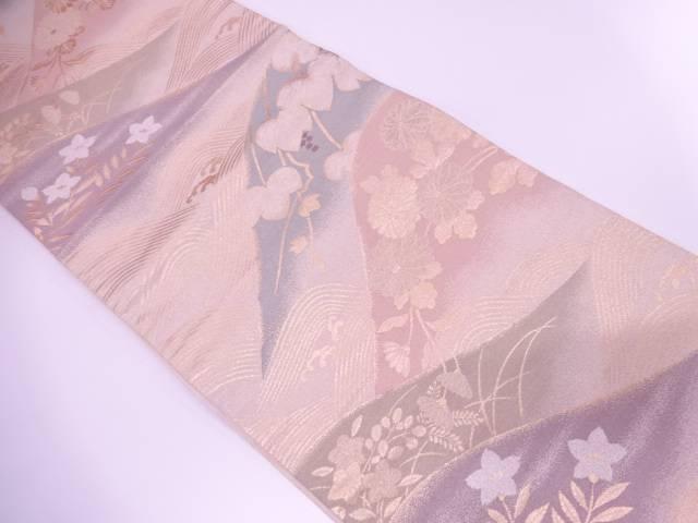 【IDnet】 波に秋草模様織出し袋帯【リサイクル】【中古】【着】
