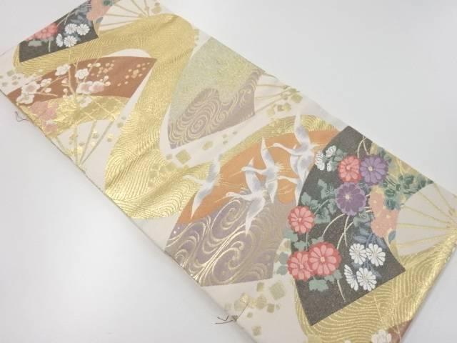 【IDnet】 未使用品 本金扇面に花鳥模様織り出し袋帯【リサイクル】【着】