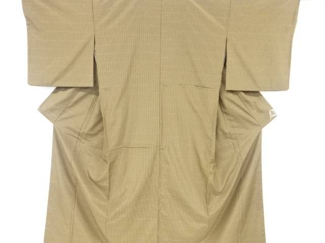 【IDnet】 草木染小格子織り出し手織り節紬リバーシブル着物【リサイクル】【中古】【着】