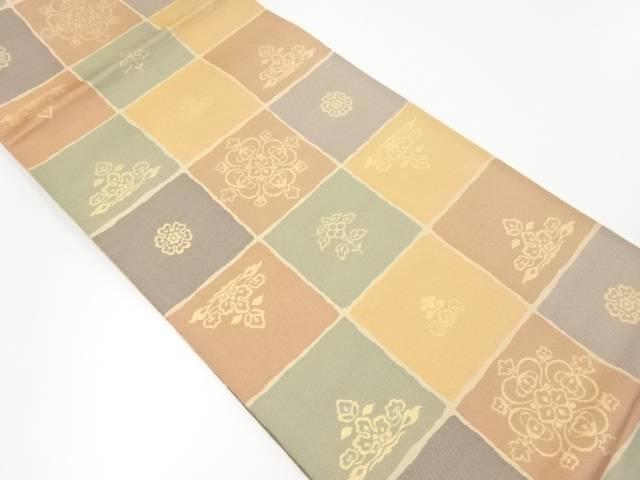 【IDnet】 格子に華紋模様織り出し全通本袋帯【リサイクル】【中古】【着】