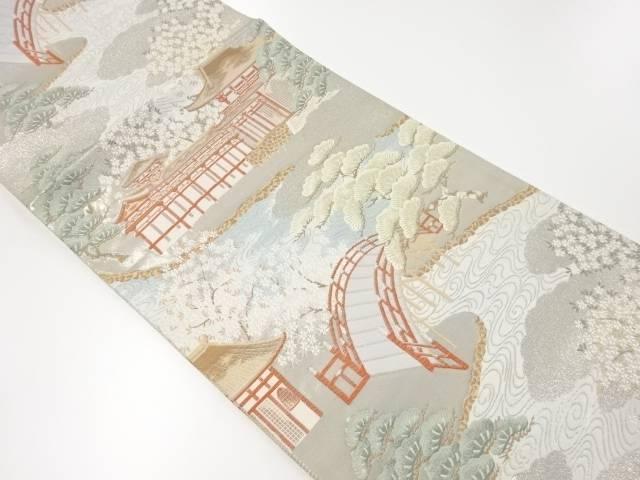 【IDnet】 プラチナ箔九百錦平等院模様織り出し袋帯【リサイクル】【中古】【着】