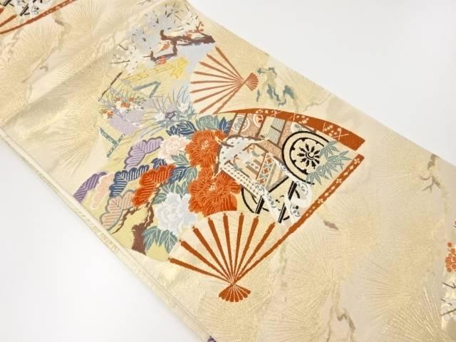 【IDnet】 扇面に屋敷・松・牡丹模様織り出し袋帯【リサイクル】【中古】【着】