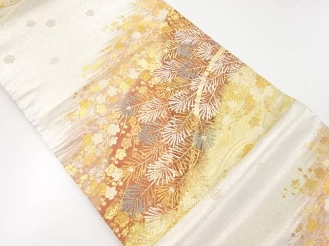 【IDnet】 青海に梅・若松文織り出し袋帯【リサイクル】【中古】【着】