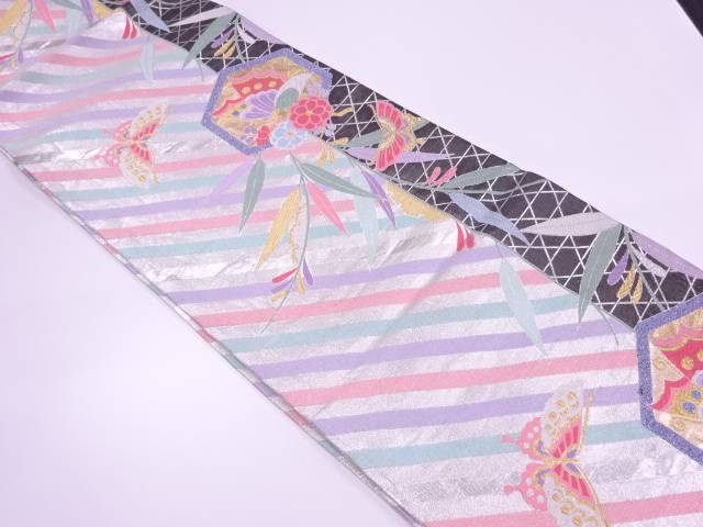 【IDnet】 亀甲に蝶・草花模様織出し振袖用袋帯【リサイクル】【中古】【着】