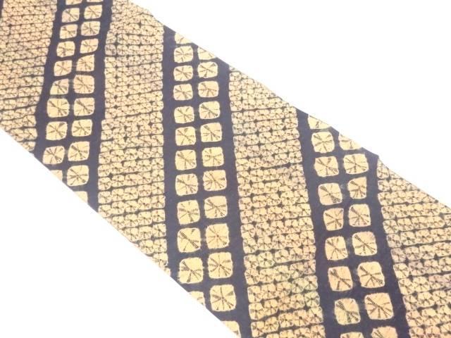 【IDnet】 未使用品 手織り紬絞り斜め縞模様全通袋帯【リサイクル】【着】
