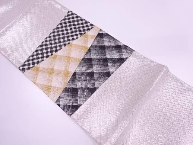 【IDnet】 組織切嵌抽象模様織出し袋帯【リサイクル】【中古】【着】