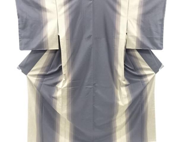 【IDnet】 未使用品 仕立て上がり 泥染め縞織り出し手織り紬着物【着】