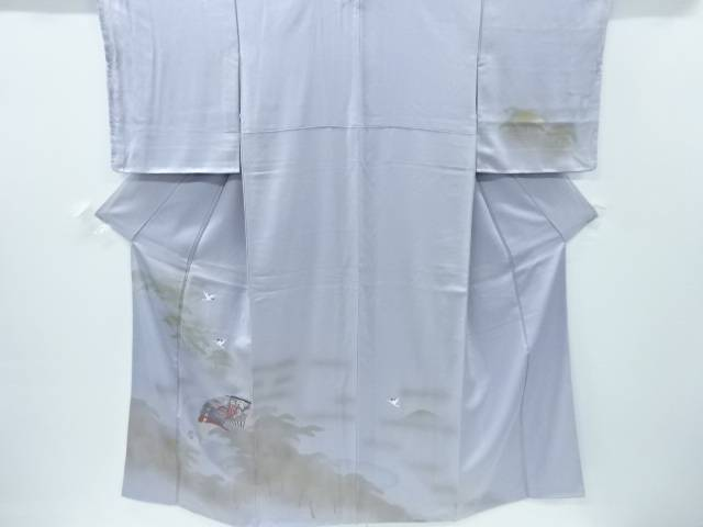 【IDnet】 手描き桧扇に松・鶴模様一つ紋訪問着【リサイクル】【中古】【着】