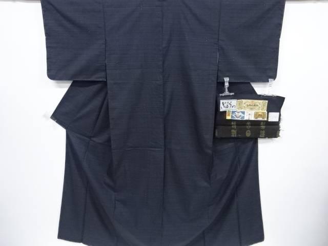 【IDnet】 未使用品 久野織物製 横段に抽象模様織り出し本場泥大島紬着物(5マルキ)【リサイクル】【着】