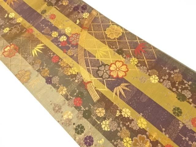 【IDnet】 金糸蛇籠に八重梅・笹模様織り出し袋帯【リサイクル】【中古】【着】