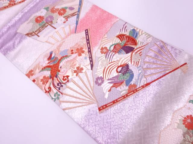 【IDnet】 扇に花鳥模様織出し袋帯【リサイクル】【中古】【着】