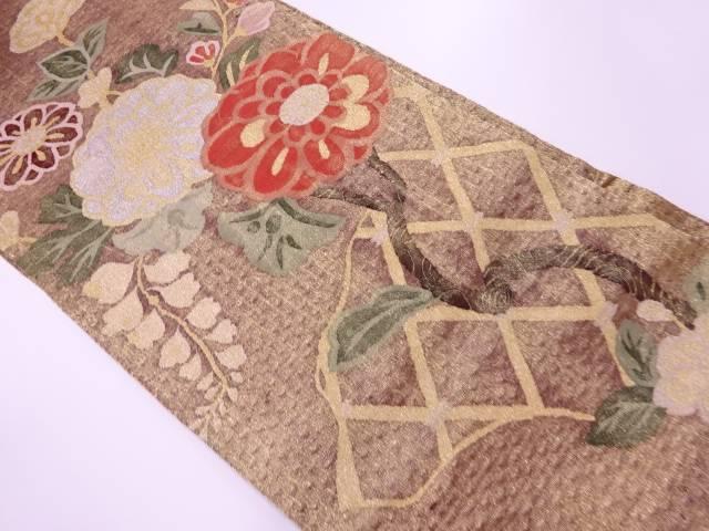 【IDnet】 じゅらく製 草花模様織出し袋帯【リサイクル】【中古】【着】
