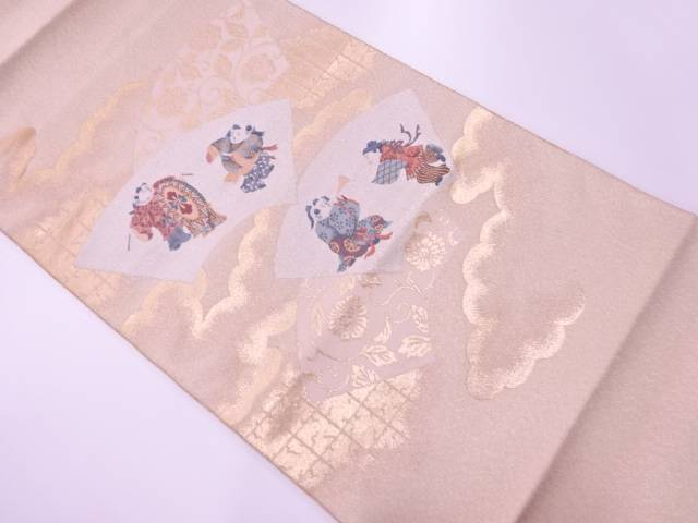 【IDnet】 砂子綴れ地紙に唐子・牡丹唐草模様織出し袋帯【リサイクル】【中古】【着】