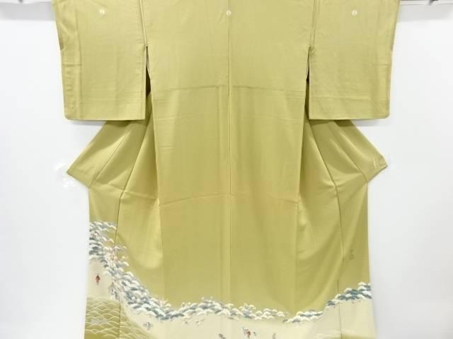 【IDnet】 作家物 手描き友禅松原に梅・時代人物模様三つ紋色留袖【リサイクル】【中古】【着】