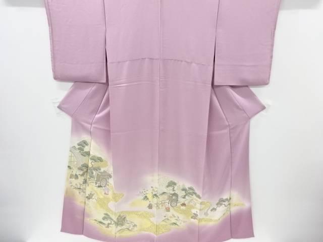 【IDnet】 寿光織 橋に御所車・時代人物模様織り出し一つ紋色留袖【リサイクル】【中古】【着】