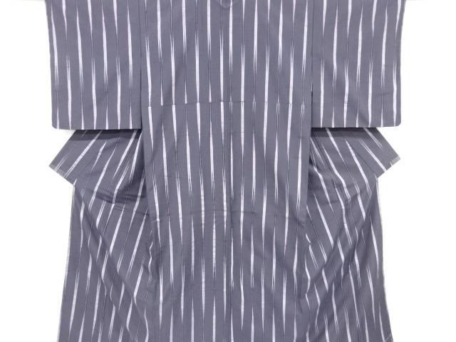 【IDnet】 未使用品 仕立て上がり 縞に矢羽根絣模様織り出し手織り節紬着物【着】