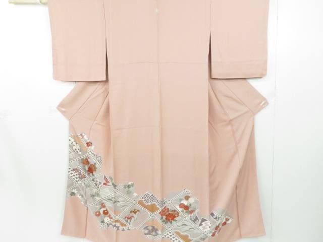 【IDnet】 色留袖 襷格子に扇・古典草花文 着物【リサイクル】【中古】【着】