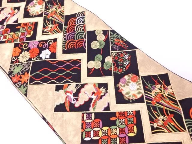 【IDnet】 変わり檜垣に花鳥・古典柄模様織出し袋帯【リサイクル】【中古】【着】