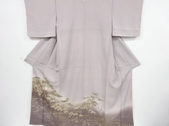 【IDnet】 未使用品 仕立て上がり 作家物 金彩友禅松原高砂模様一つ紋色留袖【着】