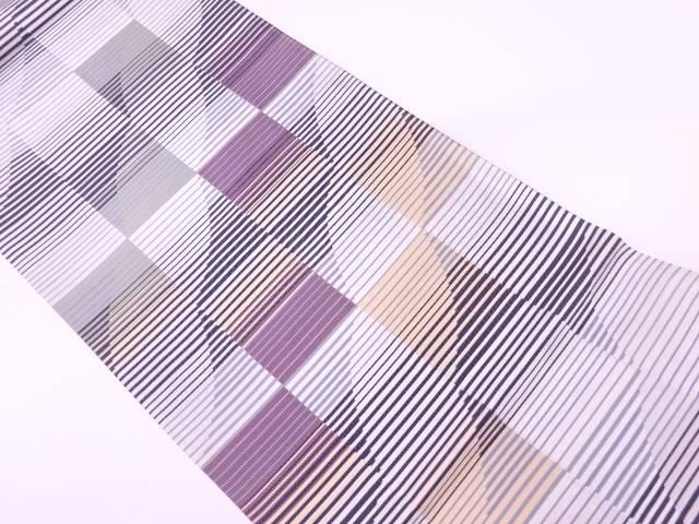 【IDnet】 灰汁発酵建本藍染抽象模様織出し袋帯【リサイクル】【中古】【着】