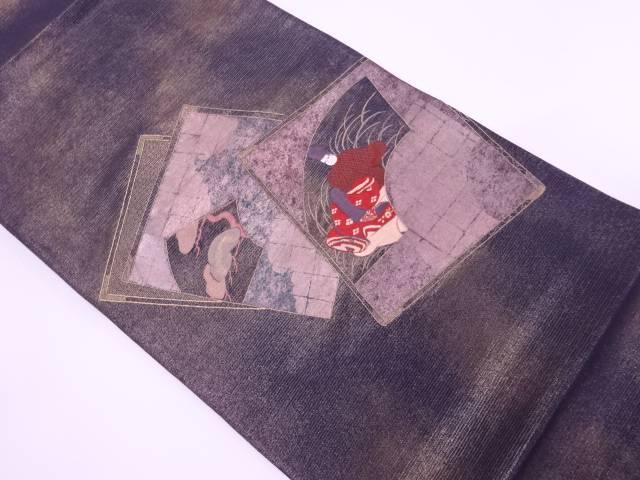 【IDnet】 色紙に時代人物・松模様刺繍袋帯【リサイクル】【中古】【着】