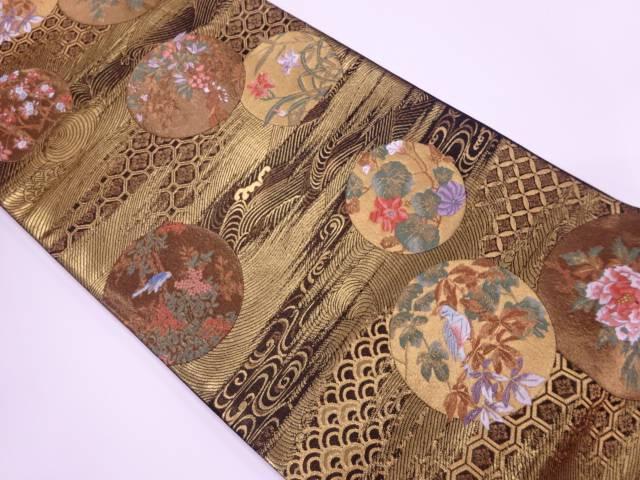 【IDnet】 花鳥に古典柄模様織出し袋帯【リサイクル】【中古】【着】