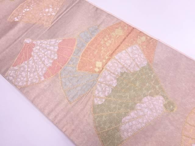 【IDnet】 川島織物製 檜扇にのり散らし・雲模様織出し袋帯【リサイクル】【中古】【着】
