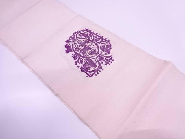 【IDnet】 帝王紫手織り紬抽象模様織出し名古屋帯【リサイクル】【中古】【着】