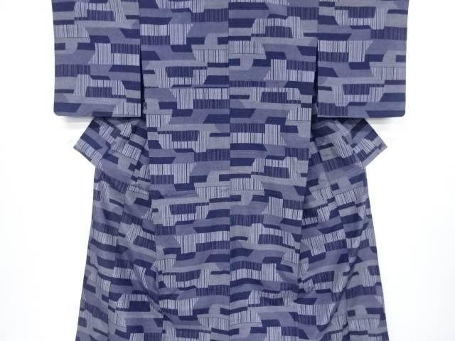 【IDnet】 抽象模様織出手織り紬単衣着物【リサイクル】【中古】【着】