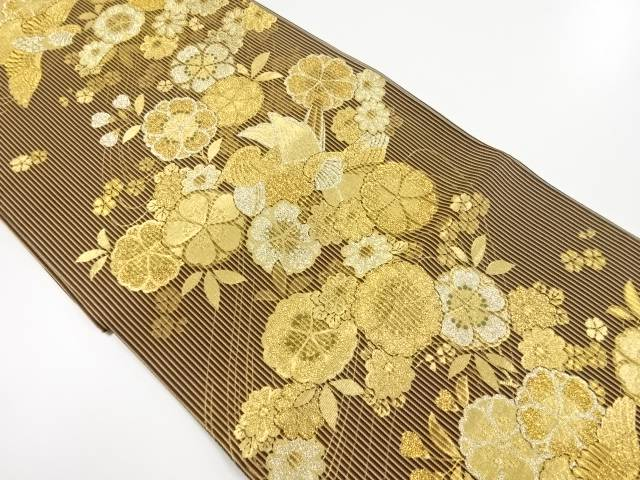 【IDnet】 金糸流水に花鳥模様織り出し袋帯【リサイクル】【中古】【着】