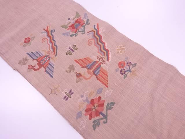 【IDnet】 手織り紬抽象花鳥模様織出し袋帯【リサイクル】【中古】【着】