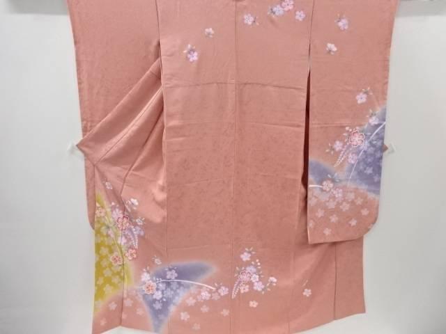 【IDnet】 桜に花模様刺繍振袖 袋帯セット【リサイクル】【中古】【着】