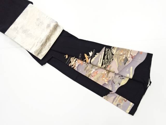 【IDnet】 金彩遠山に家屋・群鶴模様刺繍留袖(比翼付き)・袋帯セット【リサイクル】【中古】【着】