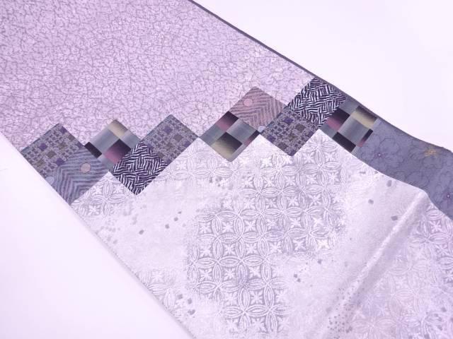 【IDnet】 切嵌変わり市松に抽象模様織出し袋帯【リサイクル】【中古】【着】