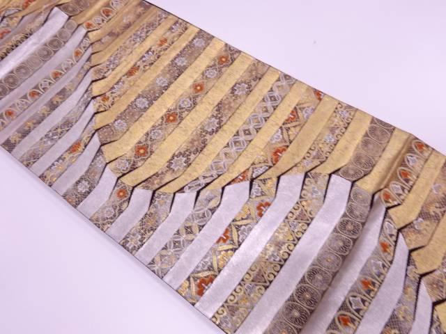 【IDnet】 金銀箔変わり横段に花・七宝模様織出し袋帯【リサイクル】【中古】【着】
