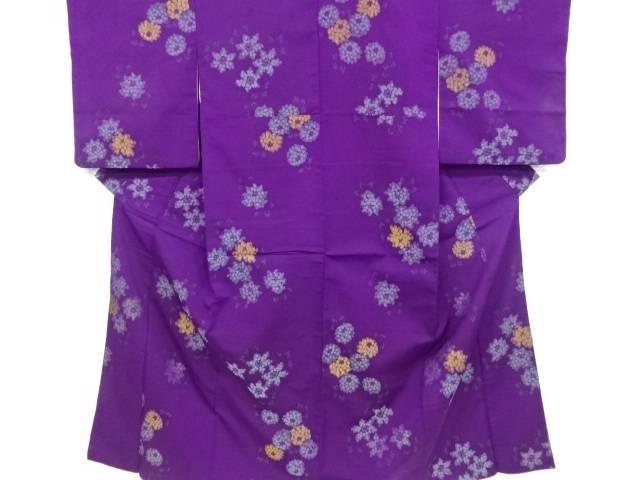 【アイディーネットのリサイクル・アンティーク着物 茶道具】 【IDnet】 花模様織り出しお召し着物【大正ロマン】【中古】【着】