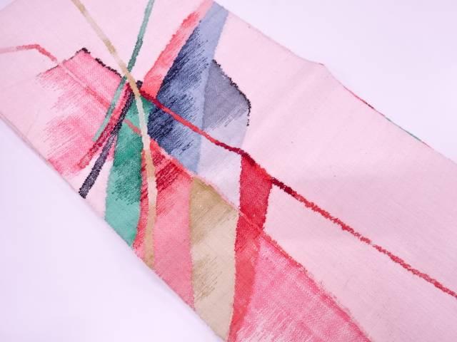 【IDnet】 未使用品 手織り紬抽象模様織出し名古屋帯【リサイクル】【着】
