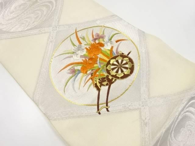 【IDnet】 紗花車模様刺繍袋帯【リサイクル】【中古】【着】
