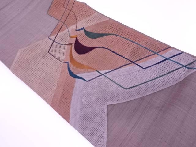 【IDnet】 岡文織物製 手織り真綿紬汕頭刺繍抽象模様袋帯【リサイクル】【中古】【着】
