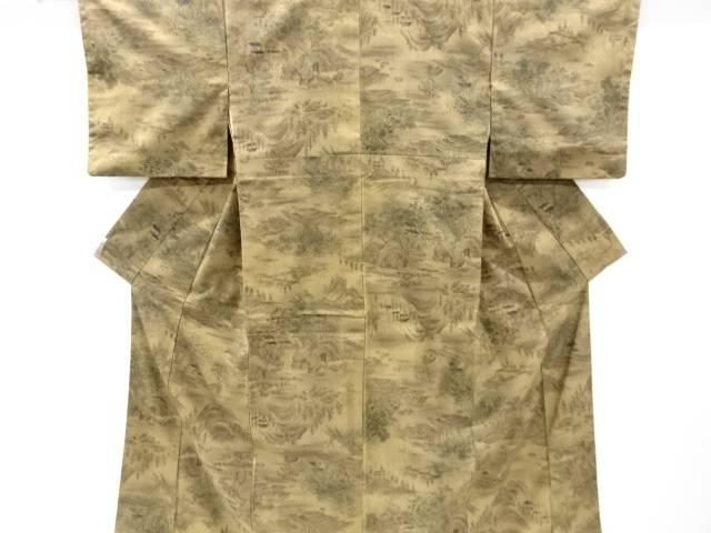 【IDnet】 樹木風景模様手織り節紬着物【リサイクル】【中古】【着】