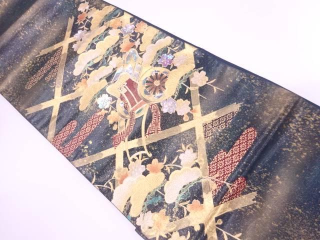 【IDnet】 金彩螺鈿襷に御所車・笠松模様袋帯【リサイクル】【中古】【着】