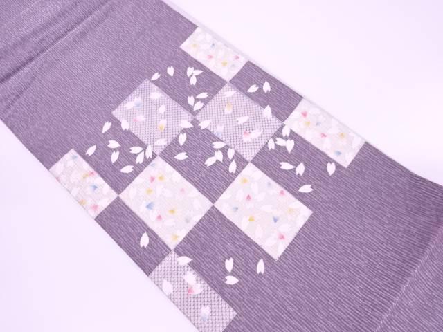 【IDnet】 市松に桜散らし模様袋帯【リサイクル】【中古】【着】