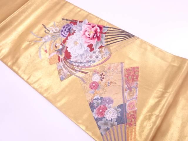 【IDnet】 未使用品 本金箔蘇州刺繍扇に牡丹・鳳凰模様袋帯【リサイクル】【着】